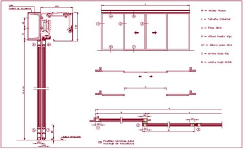 door section dwg photo cell assembly view with sliding door sectional view