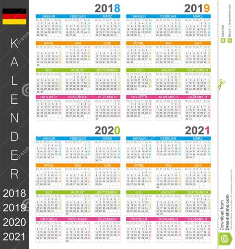Germany Calendrier 2018 Calendar 2018 2021 Stock Illustration Image 89632888