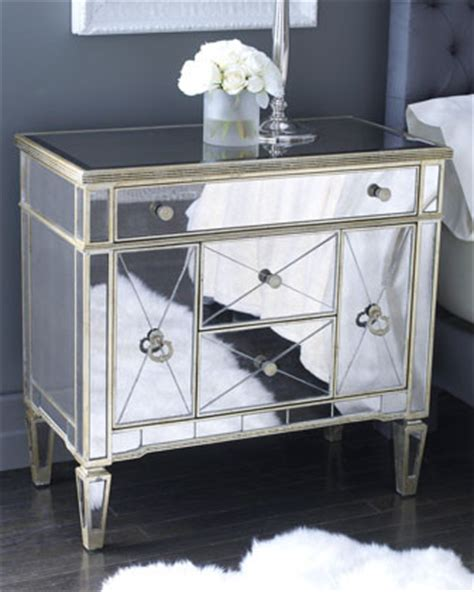 horchow mirrored armoire quot amelie quot mirrored nightstand traditional dressers by