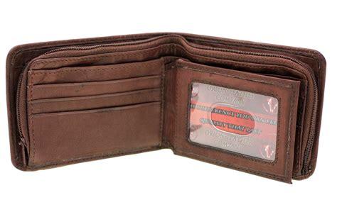 Cctv Walet mens bifold wallet security zipper money compartment center flap genuine leather ebay