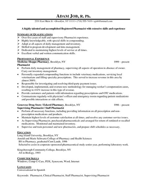 Resume Sle For Pharmacy Fresher Resume For Pharmacist Sales Pharmacist Lewesmr