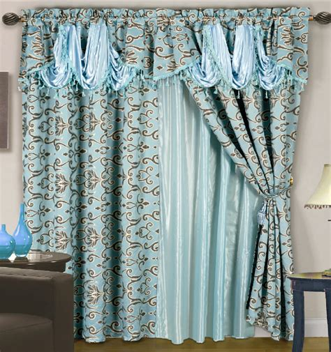 Teal Valance 4 Pc Luxurious Satin Jacquard Damask Curtain Set Waterfall