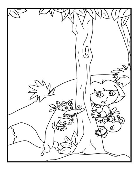 free coloring pages of dora and swiper