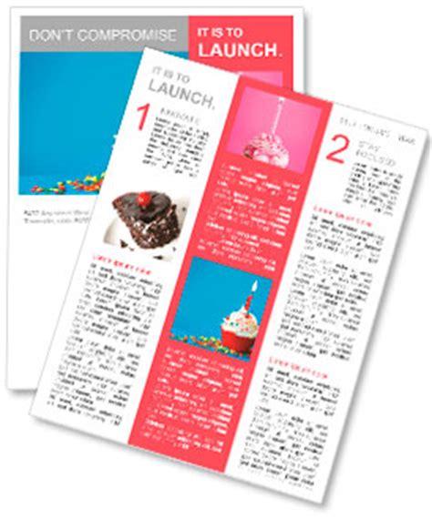 Birthday Cupcake Newsletter Template Design Id 0000009600 Smiletemplates Com Birthday Newsletter Template Free