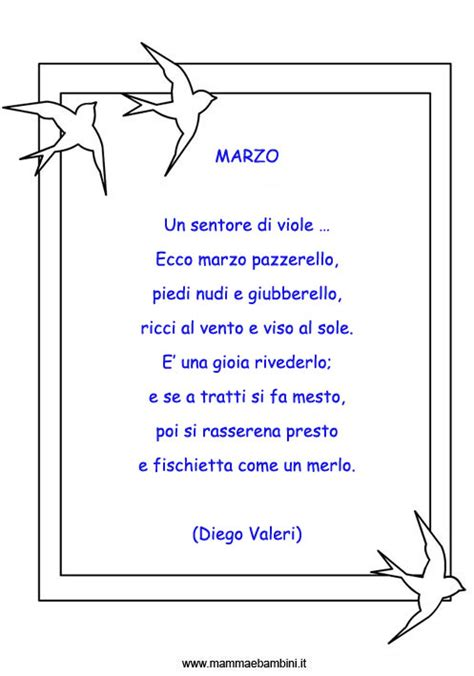 testo 4 marzo poesie sul mese di marzo mamma e bambini