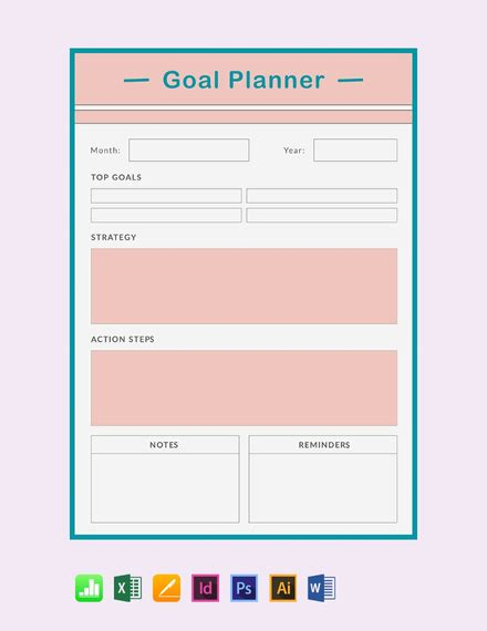 monthly goal planner template word excel psd