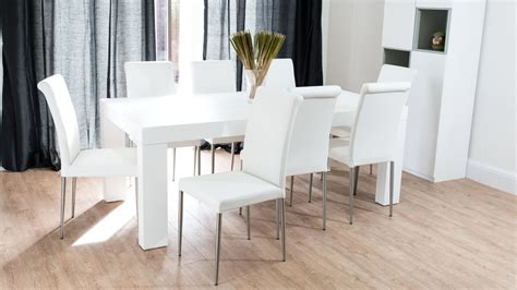 modern chunky white oak dining table and real leather chairs seats 8