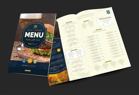 Pub Menu Template For Photoshop Illustrator Brandpacks Pub Menu Template