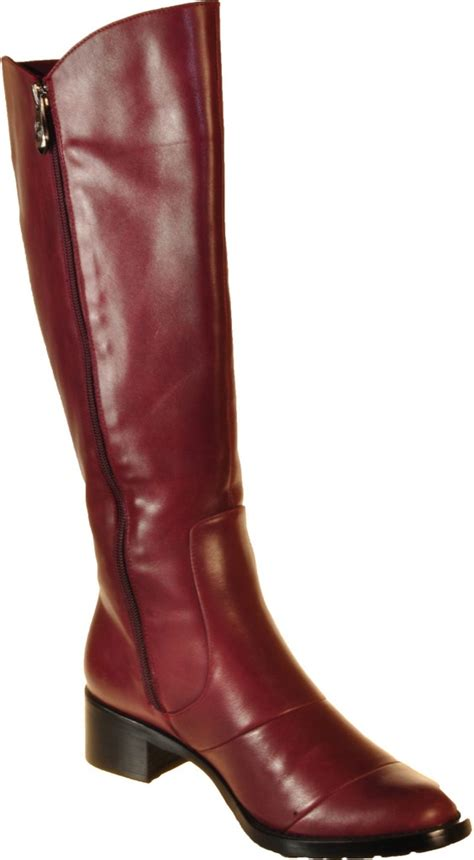 wide calf boots burgundy european classic