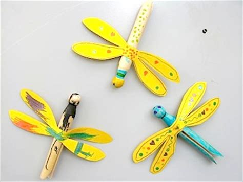 lion ster knutselen clothespin dragonfly magnets things to make and do