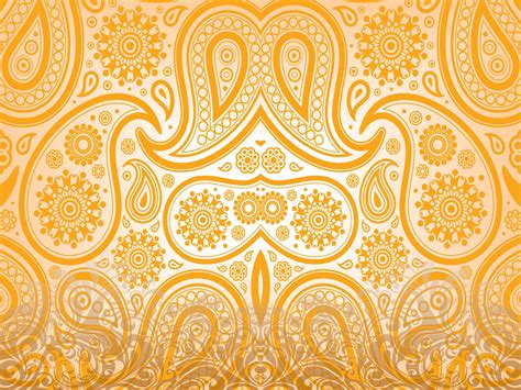 yellow indian pattern background floral orange ornaments powerpoint templates pattern