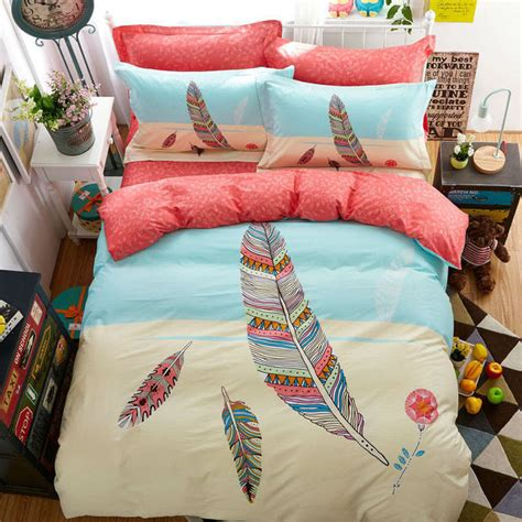 queen size feather comforter colorful feather print bohemian style twin full queen size