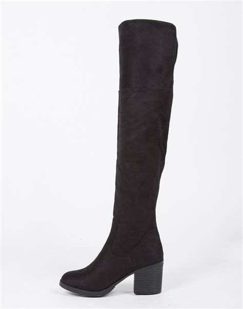 chunky heel suede the knee boots black boots