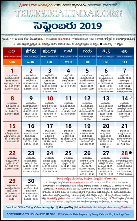 telangana telugu calendars  september festivals
