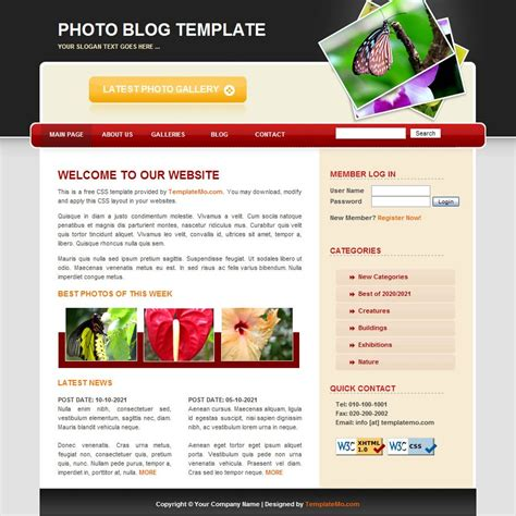 free photography html templates photography free html website templates