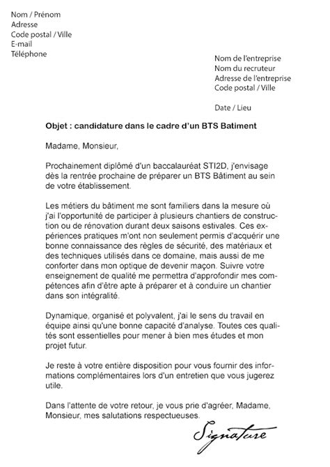 Lettre De Motivation Stage Architecture Lettre De Motivation Bts B 226 Timent Mod 232 Le De Lettre