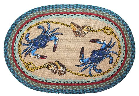 crab rug nautical rug blue crab rug braided oval rug tropical