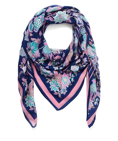 liberty navy tree of wool scarf in blue for lyst