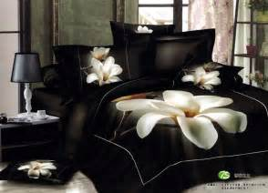 Black And King Size Bed Set 3d White Orchid Comforter Bedding Sets King Size