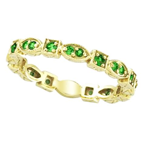 emerald eternity stackable ring anniversary band 14k