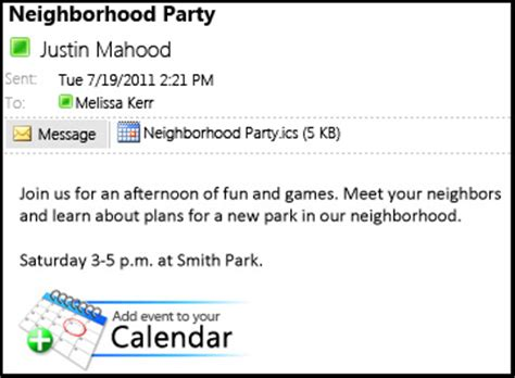 Add To Calendar Link Create An Add To Calendar Link In An Email Message Outlook