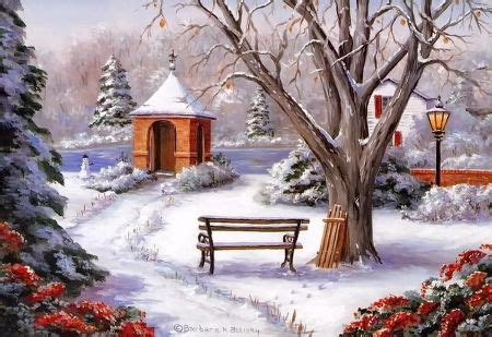 bench scence  christmas lights winter scene  abstract background wallpapers