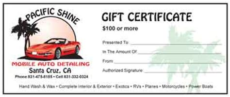 Home Pacific Shine Car Detailing Gift Certificate Templates