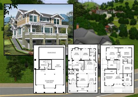 Sims 3 House Plans Mansion Mod Sims Bedroom Craftsman Cliffside Home House Plans 84900