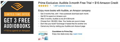 Amazon Gift Card Work For Audible - free 10 amazon with audible signup 3 months free membership prime members only