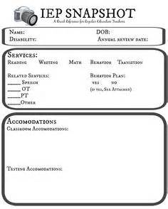 iep snapshot template i parents fill this out at the beginning of the