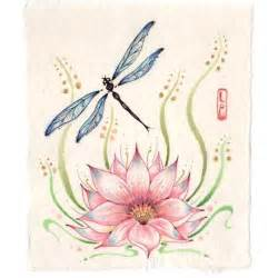 Dragonfly And Lotus Flower Dragonfly With Lotus Flower Original Zen Style Painting