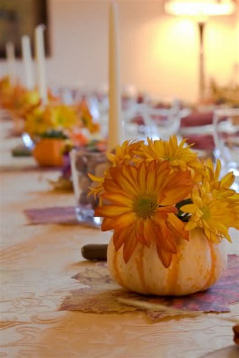 Creative Halloween Wedding Centerpiece Ideas For Autumn Pumpkin With Flowers Centerpieces