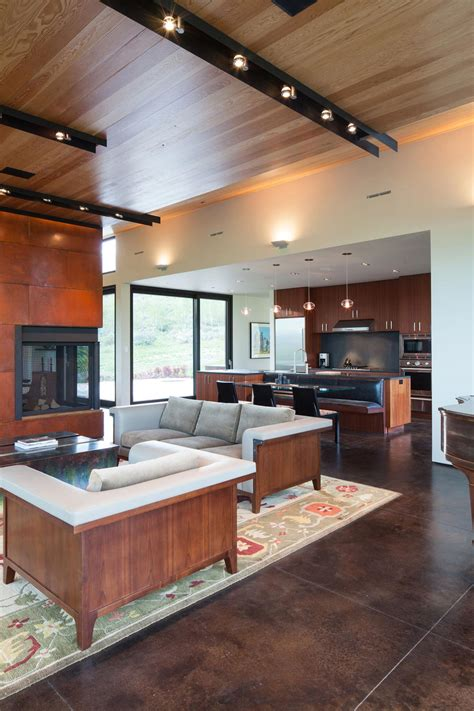 sofas fireplace living space breakfast table hillside