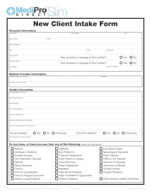 customer intake form template client intake form templates fillable printable