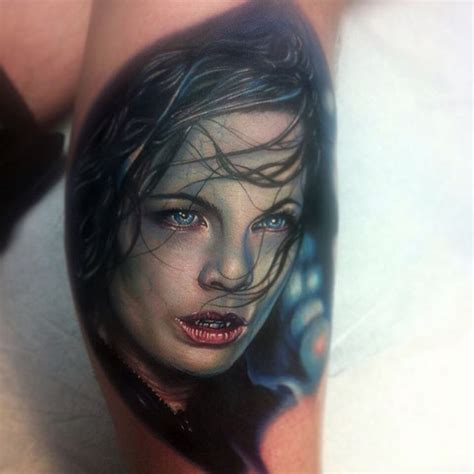 attractive 3d horror vampire face tattoo design for