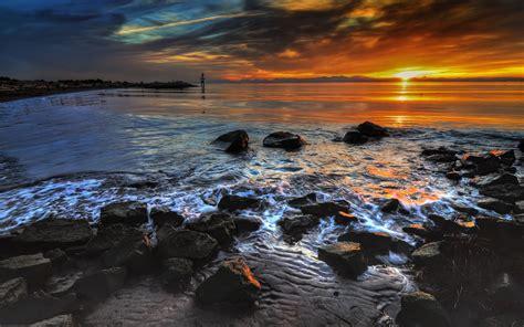ocean coast black rocks sunset wallpapers ocean coast