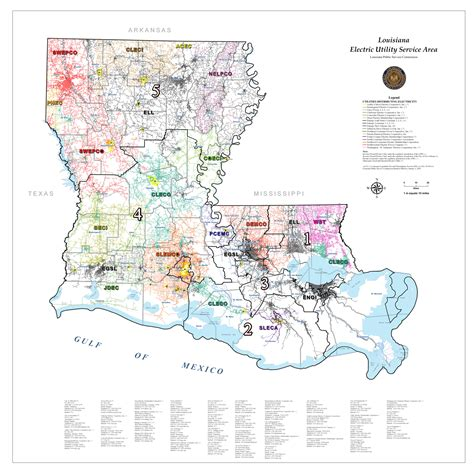 louisiana area map maps electric distribution areas