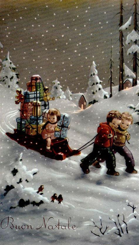 vintage christmas card boys pulling  girl  sled full  gifts vintage christmas cards