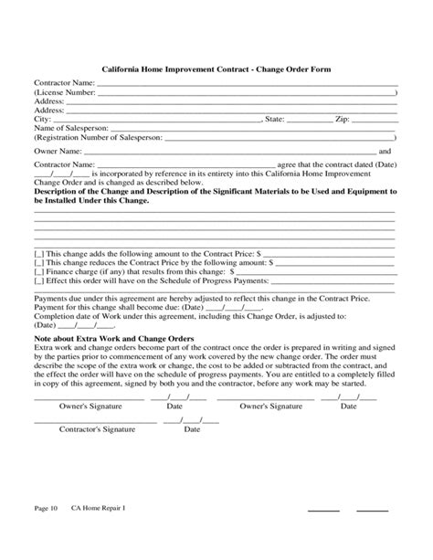 Home Improvement Contract Sle Free Download Pa Construction Contract Template