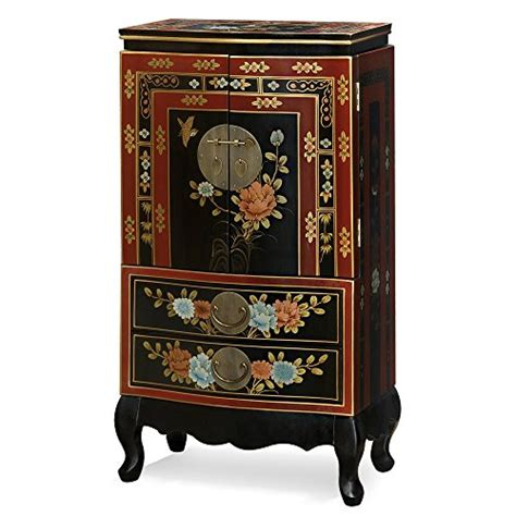 chinese jewelry armoire intricate chinese design floral theme small floor standing