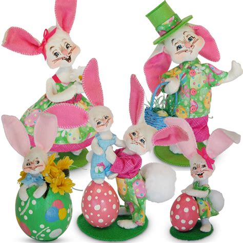 5 Adorable Families Celebrating Easter by Easter Bunny Family 5 Set Annalee Dolls