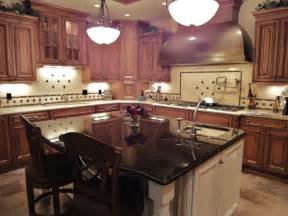 black granite kitchen island cherrywood cabinets granite white island cherry