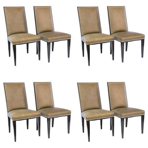 Set Of Eight Ralph Lauren Style Modern Leather And Ralph Dining Chairs