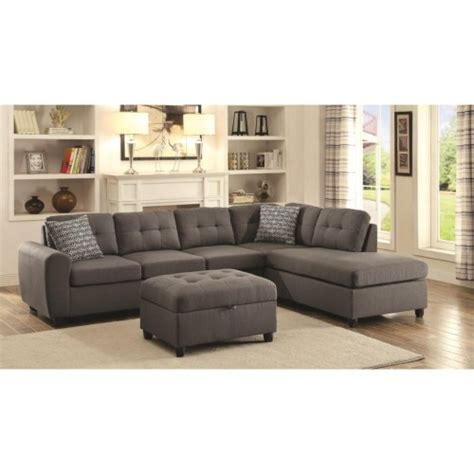 key west sectional living room in gray living room mor coaster stonenesse grey contemporary sectional with button