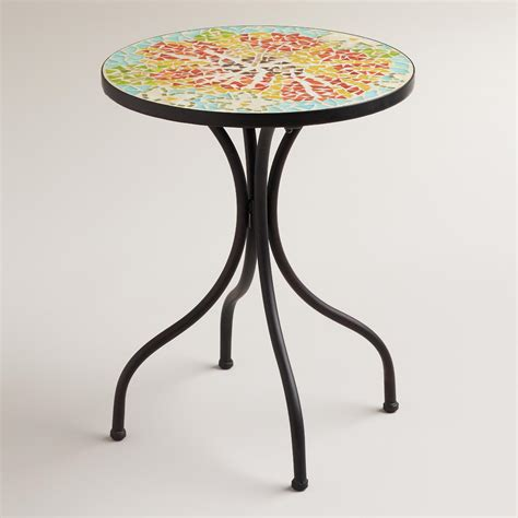 outdoor mosaic accent table flower cadiz mosaic accent table world market