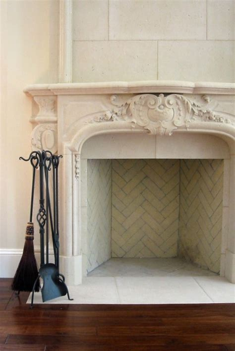 feuerstelle innen the limestone fireplace and the herringbone tile