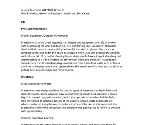 Health And Social Care Essays by Unit 3 Health Safety And Security In Health And Social Care Gcse Health And Social Care