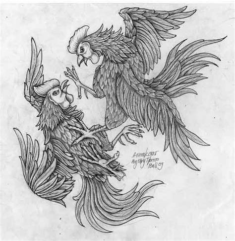 fighting rooster tattoo splendid grey ink rooster fight design