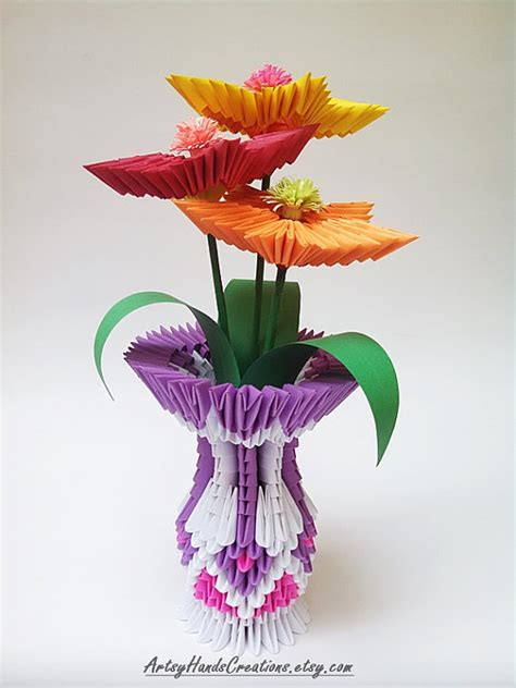 3d Origami Flower Vase 3d Origami Vase With Flowers 3d