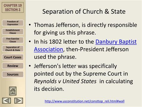 Explanation Of Jefferson S Letter To The Danbury Baptists Ppt Chapter 19 Civil Liberties Amendment